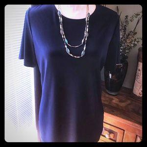 Susan Graver Essentials navy liquid knit top